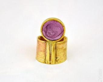 Troisième oeil - Bague ronde violette dorée réglable
