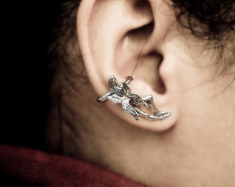 Sterling Silver Fairy Ear Cuff Wrap / Silver Fairy Wings on Womans Figure with Detailed Face
