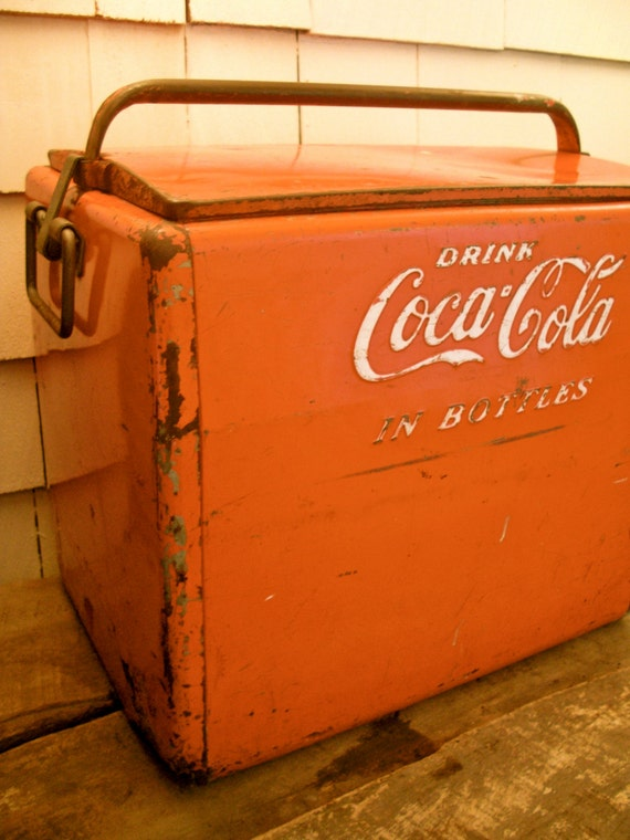 Vintage coke cooler coca cola cooler cavalier by scoutandforge for 1 door retro coke cooler