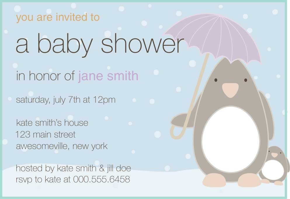 penguin baby shower invite by dinsdaledesigns on etsy