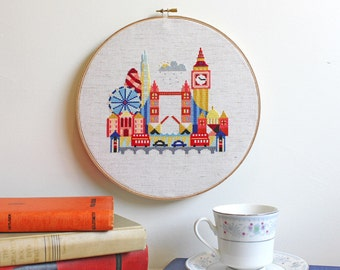 Pretty Little London - Satsuma Street Modern Cross stitch pattern PDF - Instant download