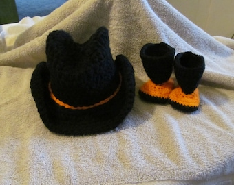Hand Crocheted Baby Cowboy Boots and Hat