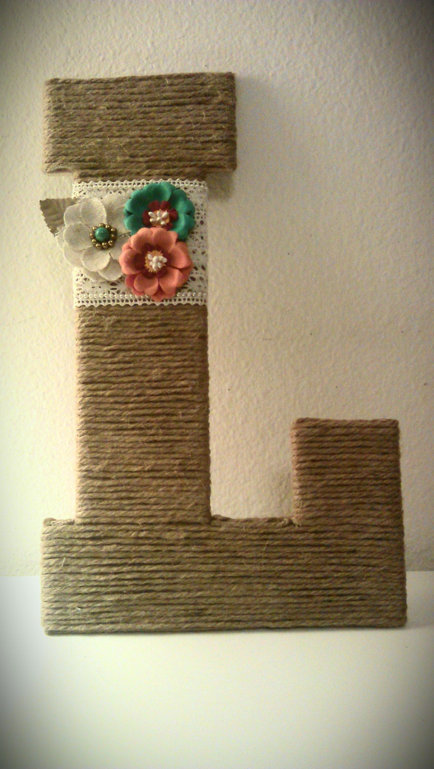 burlap wrapped letter 39l with lace flowers by With burlap wrapped letters