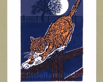 Marmalade Cat by Moonlight - Limited Edition Hand Pulled Linocut Print - Contemporary Fine Art