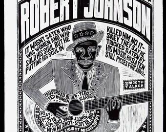 ROBERT JOHNSON World's Greatest Bluesman Handprinted Woodblock Poster