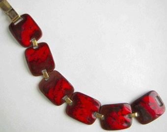 K DENNING BRACELET Scarlet and Crimson Enamel