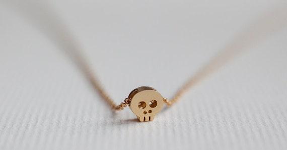Tiny skull necklace, Skull pendant necklace, Dainty minimal jewelry