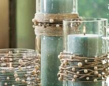Pearl Beads on Wire Garland w/ 100 feet of Jute Twine | Rustic Wedding | Beach Wedding | DIY Wedding Decoration | Rustic Wedding Centerpiece
