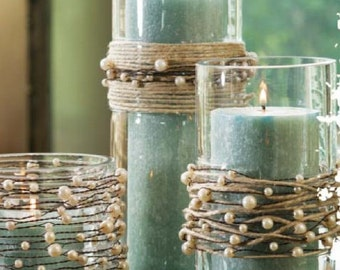 Pearls on Wire Garland with Jute Twine - for Rustic Wedding or Beach Wedding Centerpiece Kit