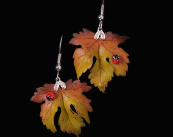 Yellow Sycamore Leaf and Ladybird Earrings