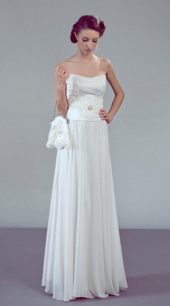 Contessa Two Piece Corset Wedding Dress Ensemble Lace And Chiffon