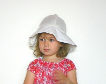 Toddler's Linen Hat, Girl's Sun Hat, White
