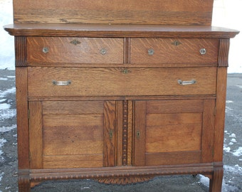 Vintage Sideboard Server Buffet Solid Oak
