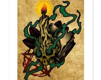 666, Neo-Traditional Tattoo Flash, Old School, Art Print 12x16