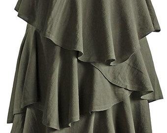 Soft Rough Cotton Long Triple Layer Skirt (SNN-022-03)