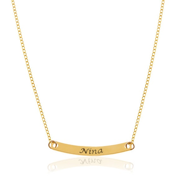 Name necklace bar necklace personalized gold name name bar like this item aloadofball Choice Image
