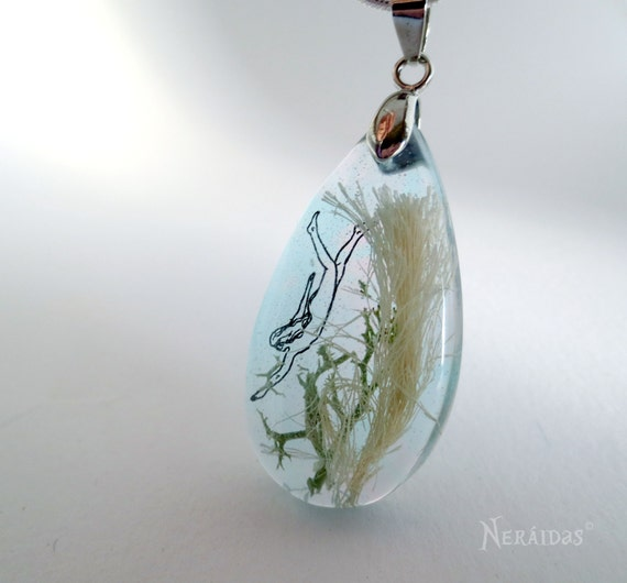 The Mermaid's Necklace teardrop seaweed sterling silver ocean necklace turquoise teal fairy tale fantasy aqua tiny drawing resin sea nymph