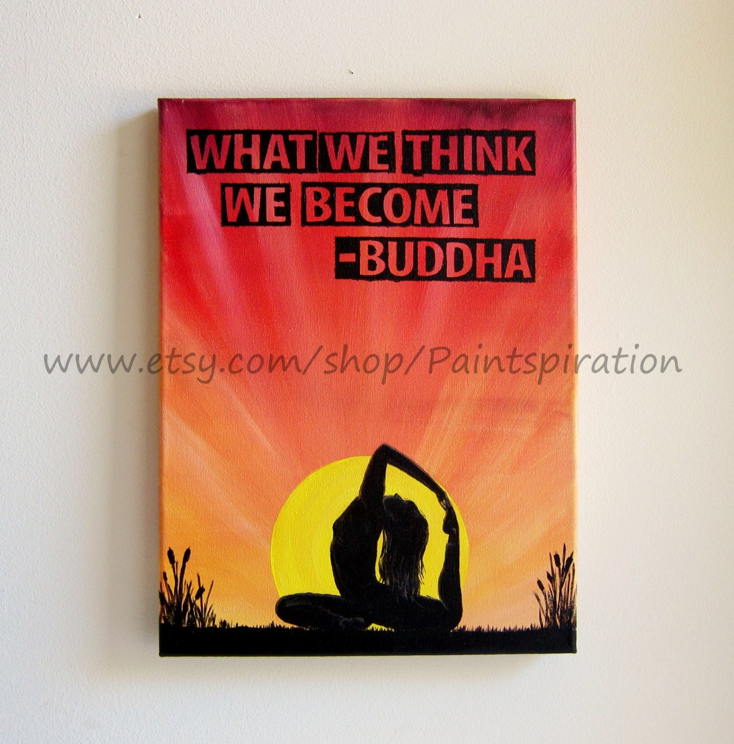 Quotes Buddha Paintings Quotesgram: Buddha Quote Art Yoga Painting What We Think We Become