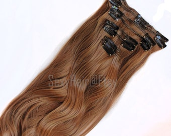 "24"" Chestnut Brown Hair Extension, Clip in Extensions, Full Head, Clip On Extensions - 8 Piece Set, Thick Hair, Long Hair, Light Brown Hair"