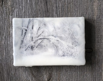 Original encaustic wall art. Encaustic Minnesota Winter Photography. Winter landscape. Snow.  Black and White. Monochromatic. 5x7