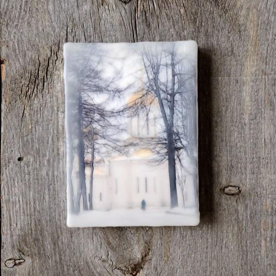 Original encaustic wall art. Encaustic Russian Winter Photography. Ancient architecture. Winter landscape. Snow. 5x7
