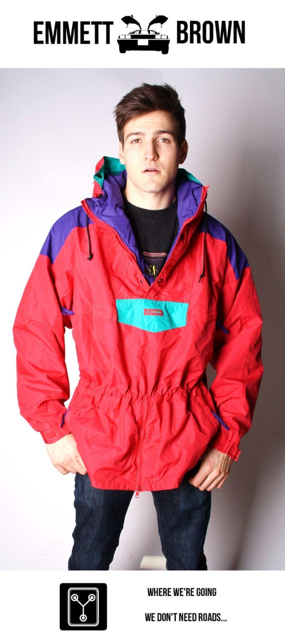 Retro 90s Neon Color Block Columbia Pullover Jacket 00004c