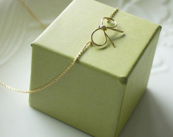 Bridesmaid gifts - Set of 2, 3 - Ribbon tied necklace, tiny bow necklace in gold