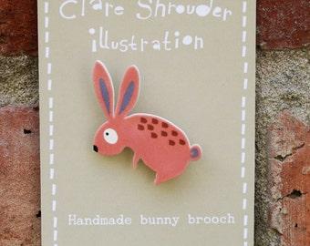 Shrink plastic Bunny brooch