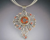 Big Silver Solstice Necklace Pendant Statement piece with red and orange sapphires sterling silver beads iridescent  polymer inlay