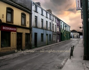 Irish Street Scene, Pub and Bookmaker,  Dunmore  Co. GALWAY, Quaint Village Photo, Quintessential IRELAND photography, St. Patricks Day Gift