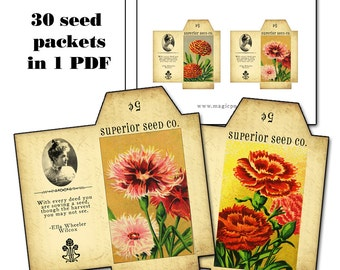 Altered Art Flower Seed Packet set 30 printable seedpackets for gardening seeds mixed media