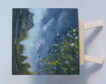Small Original Oil Painting - Reflection on the Farm Pond