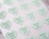 96 Light Mint Green Happily Ever After Stickers, Heart Stickers, Wedding Seals, Gift Wrapping, Mint Green Stickers