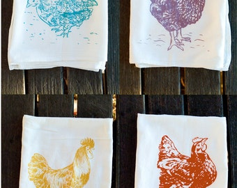4 Towels Gift Set - 4 Chicken Screenprinted Flour Sack Towels