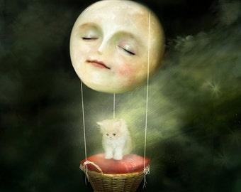Cosmic Cat  8X8 print | Comet art moon cat art and smiling Moon illustration -  children art print by Meluseena -- 8X8