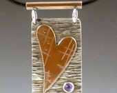 Mixed Metal Heart Necklace with Amethyst, sterling silver, copper heart, mixed metal, heart jewelry