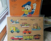Wood Puzzles Fisher Price and Playskool Toy Two Childrens Puzzles Disney Donald Duck and Vehicles Vintage Jigsaw Puzzles Airplane Cars Boats