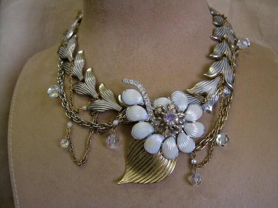 Moonlight Blooms: Wedding Necklace Floral Vintage Assemblage Choker Opalescent Flower Statement Boho Bride Vintage One of a Kind ooak
