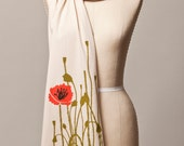 poppy scarf, red poppy, cream scarf, neutral scarf, long soft scarf