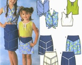 GIRLS Western Sewing Pattern - Skirts & Tops Tie Front Top Denim Skirt 5 Sizes