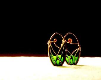 Tiny Landscapes Brass Earrings. Green Earrings. Unique Earrings. Dangle Earrings. Wire Wrapped Earrings. Oval Earrings. Original Earrings.
