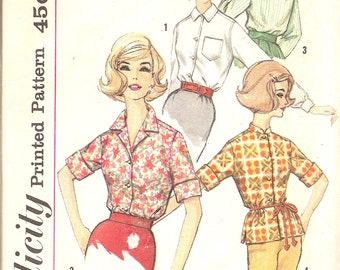Vintage Sewing Patterns - 1960s Blouse Pattern - Retro 60s Blouse Pattern - Womens Blouse Pattern -  Simplicity 4056 - Bust 40