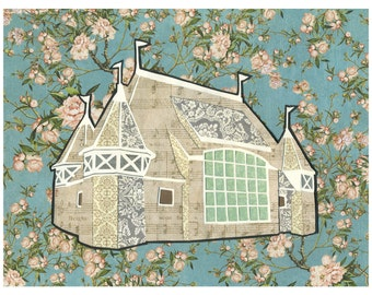 Lake Harriet Bandshell Print - Minneapolis Cut Paper Collage Artwork