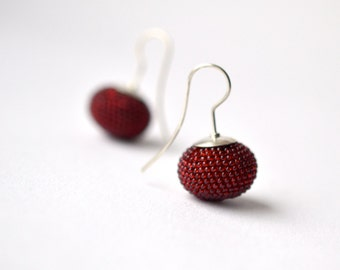 Dark red  crocheted earrings glass beads and silver