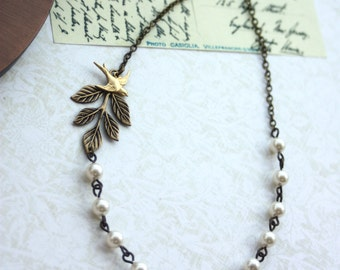 Wedding Jewelry Bridesmaid Necklace. Maid of Honor Necklace.  A Brass Leaf, Swallow Bird, Ivory Cream Pearls Necklace.