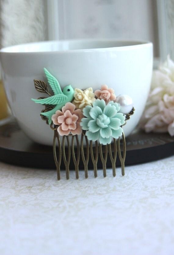 Mint Green, Pink Sakura, Green Swallow Bird, Pearl, Ivory Flower Collage Hair Comb. Bridesmaids Comb. Nature Wedding. Bridal, Mint Wedding.