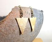 Brass triangle earrings rustic textured geometric earrings simple everyday minimalist triangle jewelry