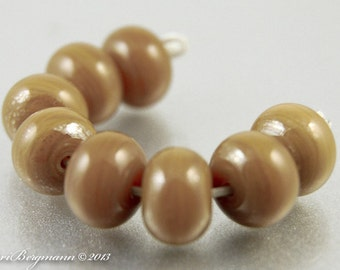 Streaky Light Brown Glass Spacer Beads, SRA Handmade Lampwork, Tan, Creme Brulee