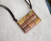 Rectangular plate geometric pendant earth Jasper Picasso on suede casual necklace handmade Israel