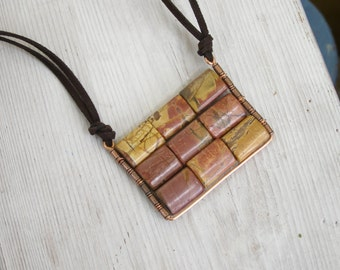 Abacus Pendant Rectangular plate geometric pendant earth Jasper Picasso on suede casual necklace handmade Israel